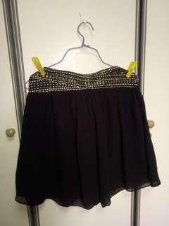 Black gold embellished skirt