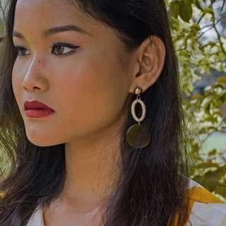 Brown Round Earrings