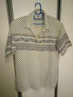 Vintage white polka dotted blouse