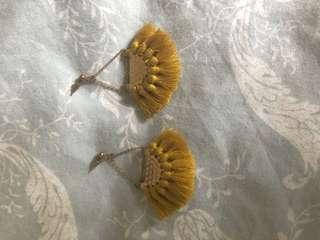 Mustard tassel earrings