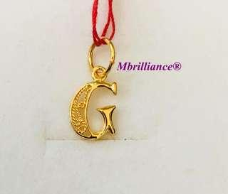 Alphabet G Pendant 22k / 916 solid Yellow Gold Pendant