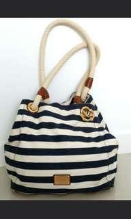Auth Michael Kors Marina Navy Blue White Canvas Tote Anchor Stripe Handbag