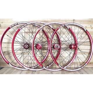(New Arrival!) Custom Build Chosen 4591/4597 Loud sound/Smooth Wheelset with Sun Ringle INFERNO 25 Welded MTB Rim (Red Color Set)