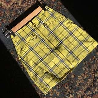 Yellow gingham factorie zip up skirt