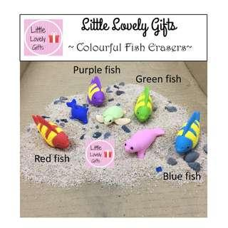 Colourful fish erasers