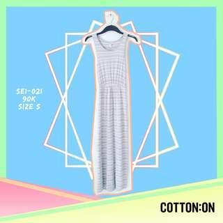 Cotton On Grey Striped Long Dress