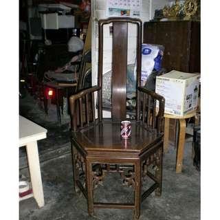 老舊雞翅木高靠背六角形扶手椅