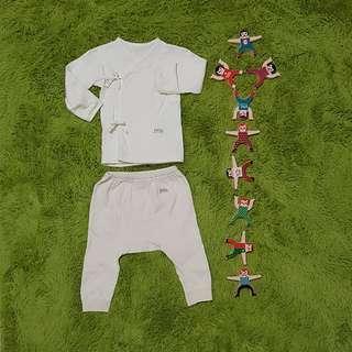 🚚 藍天畫布 100%有機棉 雙層緹花布 嬰兒肚衣55m+嬰兒初生褲55m,溫暖舒適,無漂無染
