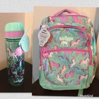 Smiggle Hits Unicorn Bsckpack and Water Bottle