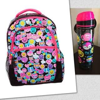 Smiggle Hits Pink/BlackBackpack and Water Bottle