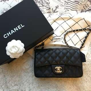 Authentic Chanel black Mini Rectangular Flap bag Caviar in Light Gold Hardware