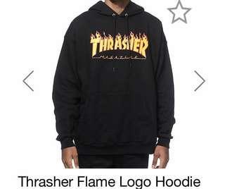 Black thrasher flame hoodie