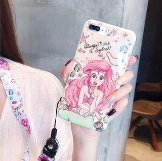 🚚 Iphone6/6s 美人魚 Ariel 藍光全包軟殼 手機殼 附掛繩
