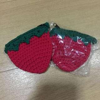 Knitted strawberry coin purse
