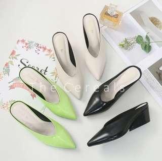 V cut white shoes heels
