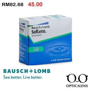 Bausch&lomb Softlens 38 Monthly clear contact lens , 6 pieces / 1 box  , READY STOCK