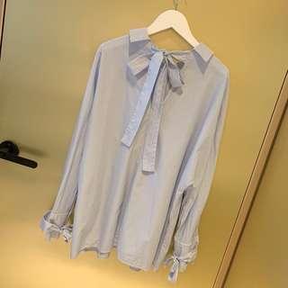 🚚 ZARA 多種穿法精緻條紋襯衫 袖子蝴蝶結