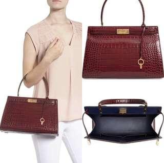 Tory Burch Lee Radziwill Embossed Leather Satchel