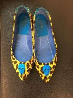 骷顱豹紋馬毛平底鞋