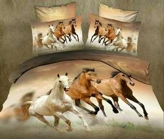 Horse Bedding Set Cover Set Bedsheet Pillowcase Set 4 pcs Fast Shipping