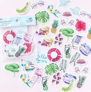 🚚 [In stock] 40 pcs Hello Summer Holiday Sticker Packs for scrapbooking, journal, planner supply