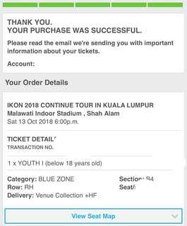 (WTS) ikon concert tiket youth zone