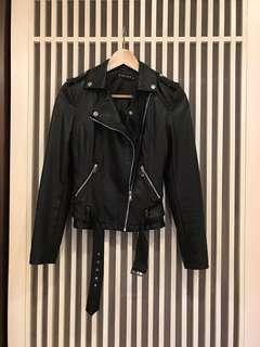 韓國 黑色機車皮外套