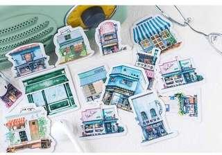 🚚 [In stock] 40 pcs Cafe Buildings Sticker Packs for Scrapbook, Planner or Journal