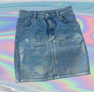 Topshop Holographic Denim Skirt
