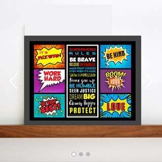Superhero Children Room Poster Decoration Motivation Character Traits Baby Gift Present