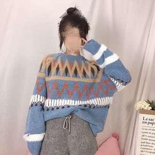 Blue sweater hoodie sweatshirt top