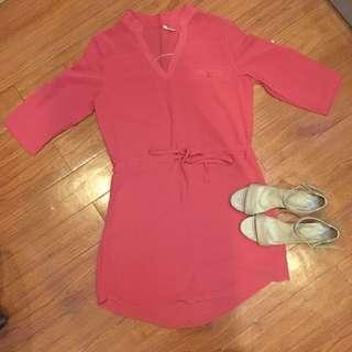 Pinkish Red Silk Chiffon Dress