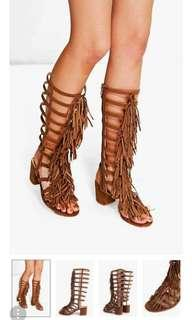 Fringe Knee High Block Heel Sandal (black not tan colour)