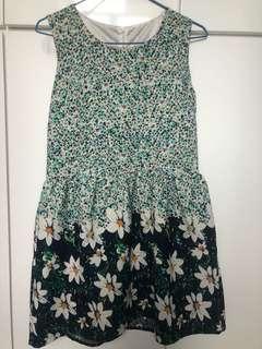 綠色花花連身裙