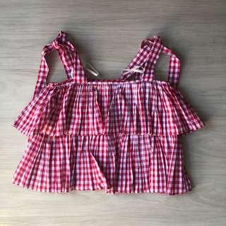Gingham Pleated Strap Top