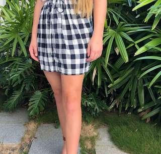 Pretty Jack Wills Navy tartan button down skirt