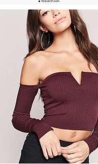 Forever 21 Ribbed Off shoulder crop