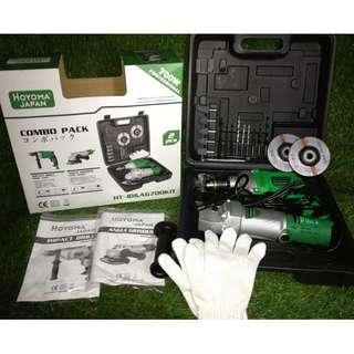 Combo Pack 2in1 Angle Grinder & Impact Drill Set 700W