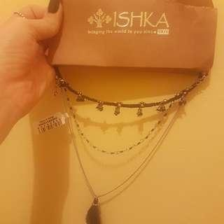 Necklace chocker layered chain tassel ink necklace