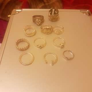 Assortment of silver rings