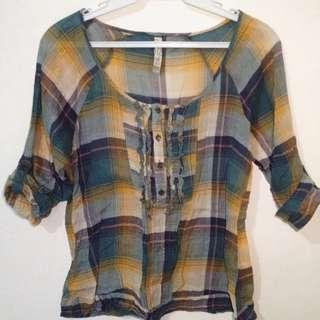 Bershka Plaid Top