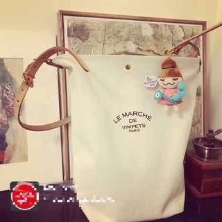 🚚 法國品牌LE MARCHE DE VIMPETS 日本製真皮皮革拼接帆布包提袋水桶包購物袋