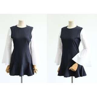 Made in Korean navy stripe dress