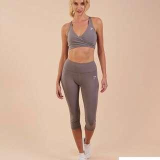 Gymshark Dreamy Cropped Leggings Yoga pants Size S Slate Grey