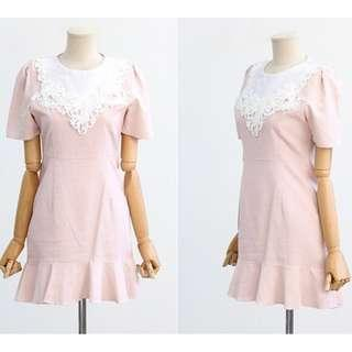 Made in Korean pink lace detail dress