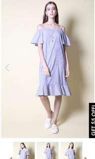 The Stage Walk - Striped Blue Cold Shoulder Midi Dress