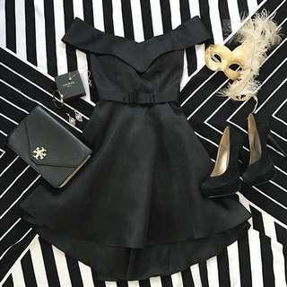 Black Off-shoulder Formal Cocktail Gown