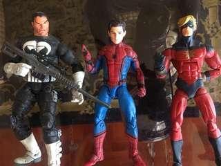 Marvel Legends Spiderman, Punisher & Capt Marvel