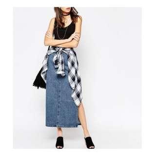 *SALE* CHEAP MONDAY Denim Maxi Skirt Size XS AU6-8