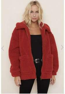 PIXIE SHERPA JACKET -RED  XS/S